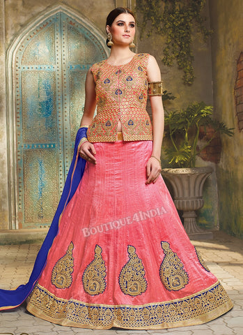 Pink Silk heavy embroidered crop top style Lehenga