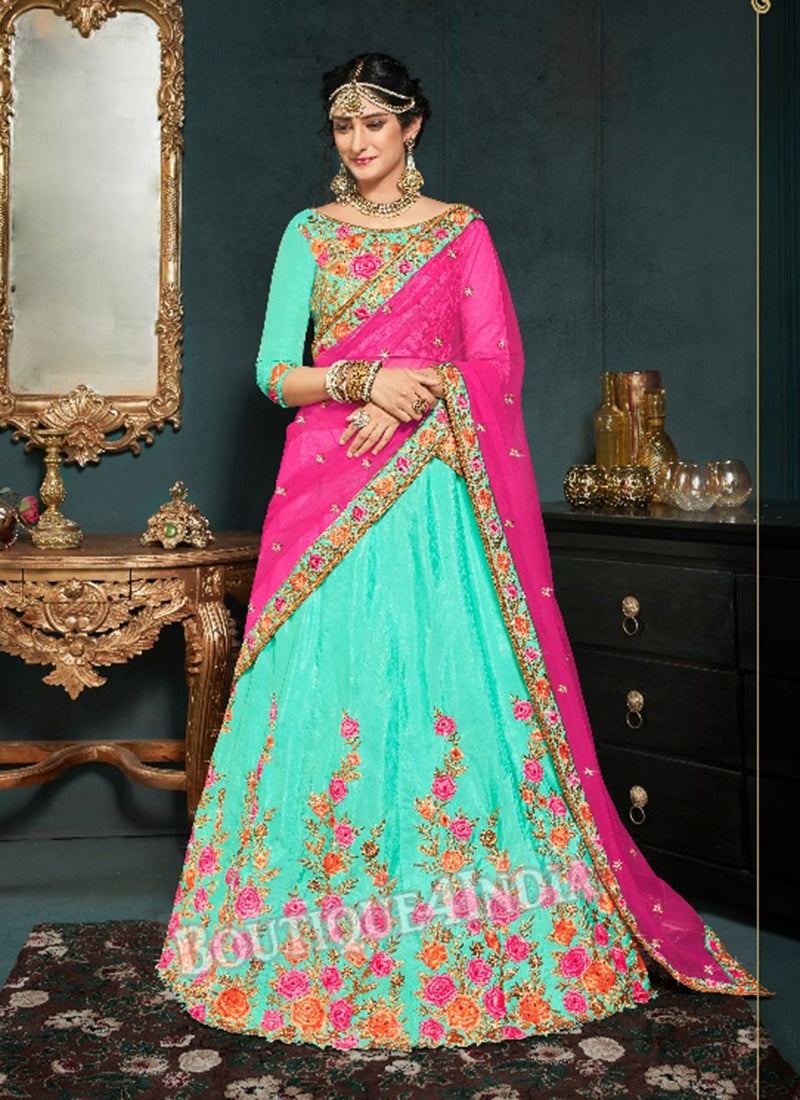 Pista Silk Bridal Embroidered Lehenga