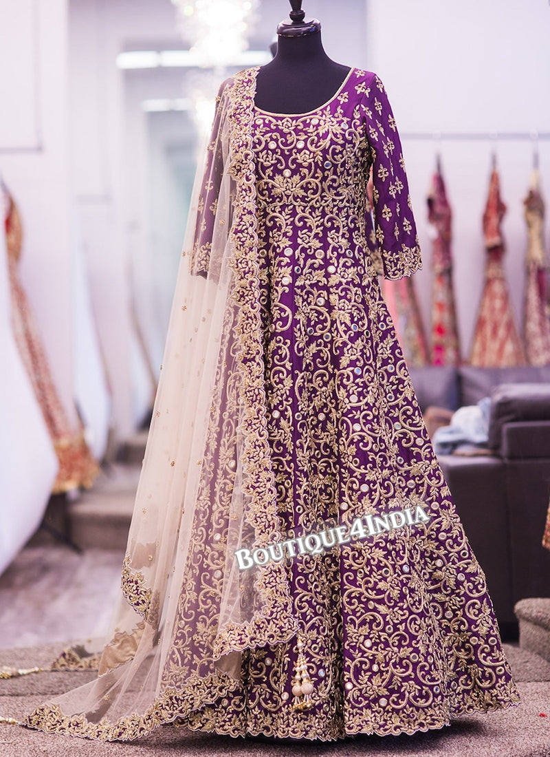 Purple Banglori Silk heavy embroidery work anarkali suit