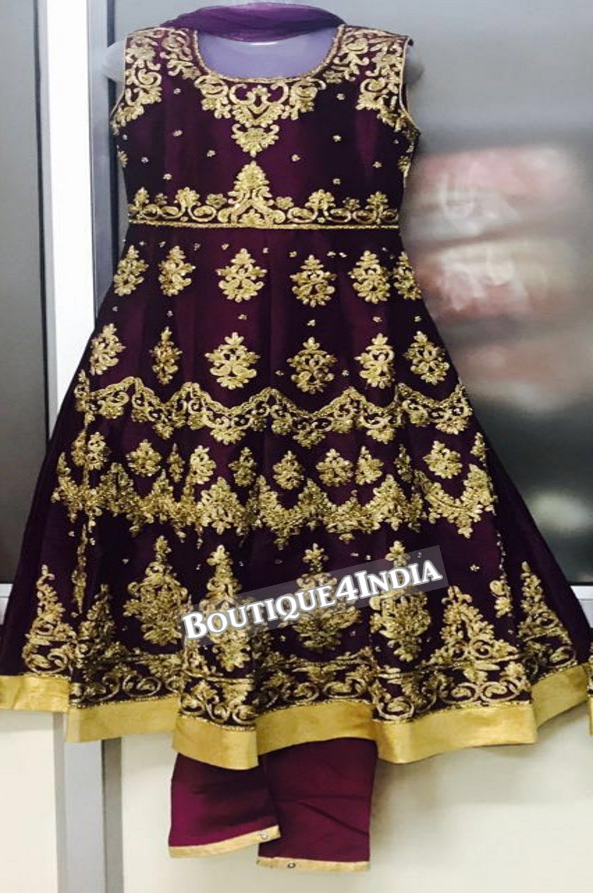 Girls Purple heavy embroidered stone work salwar suit