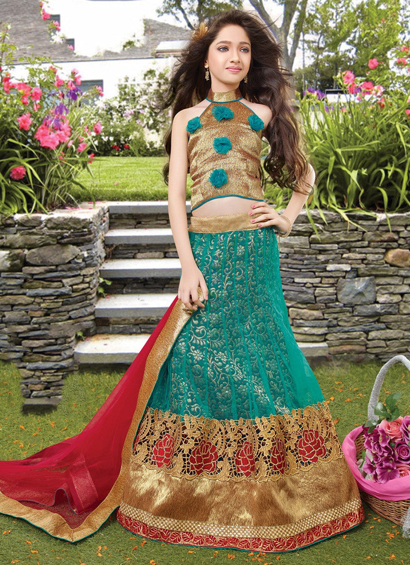 Girl's Turquoise  and green Lehenga Choli