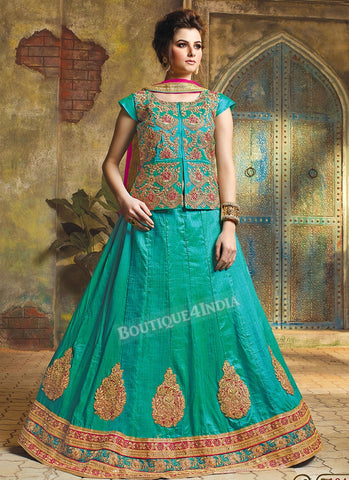 Turquoise Silk heavy embroidered crop top style Lehenga