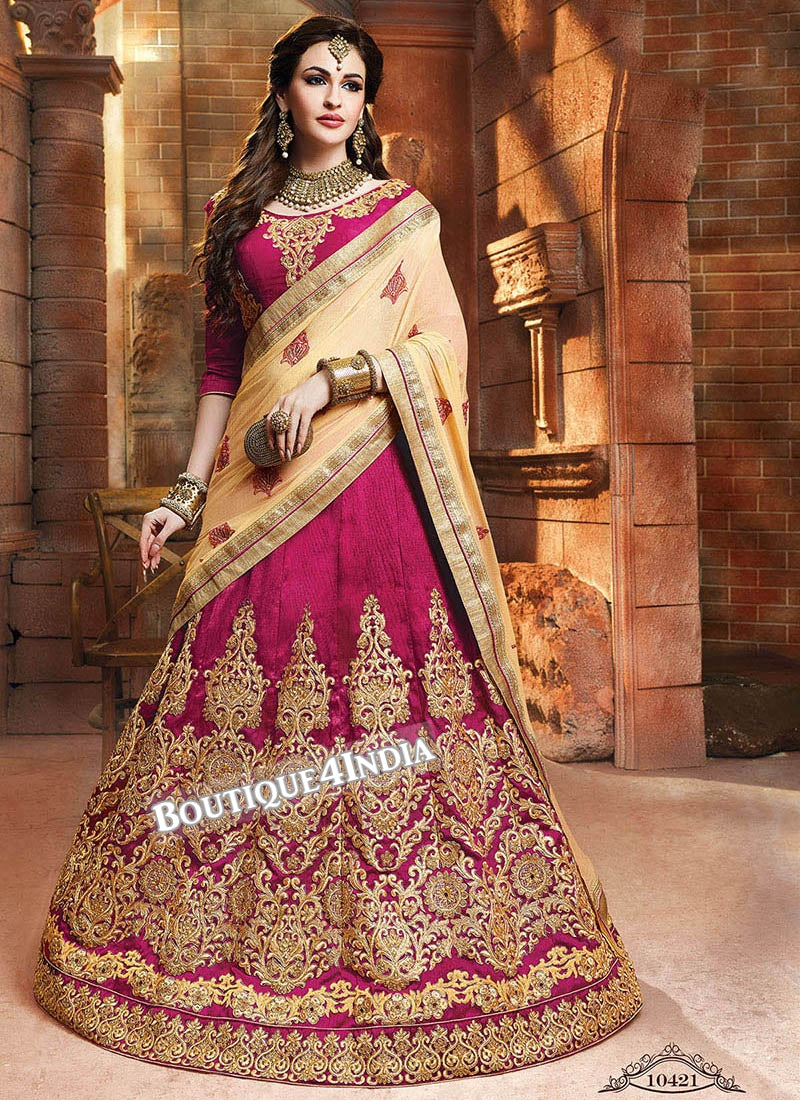 Rani Satin silk reception wear lehenga choli