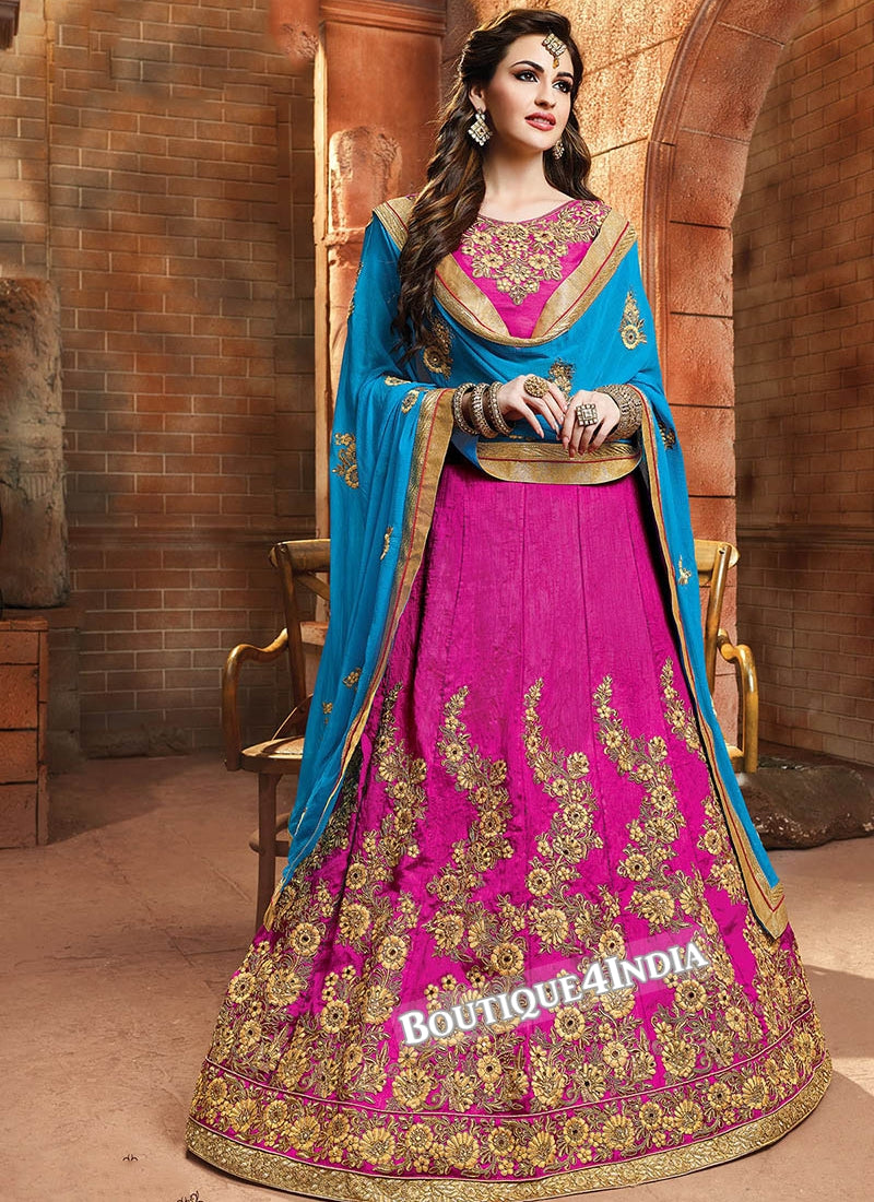Purple Satin silk reception wear lehenga choli