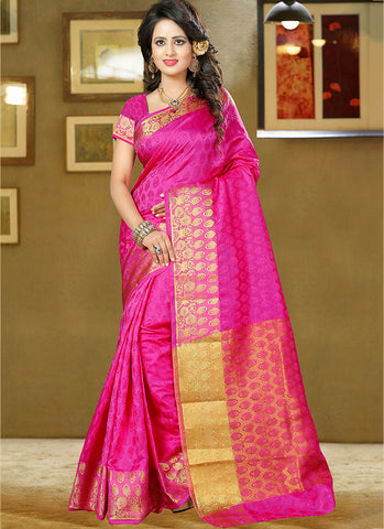 Pink Art Silk and zari work Saree