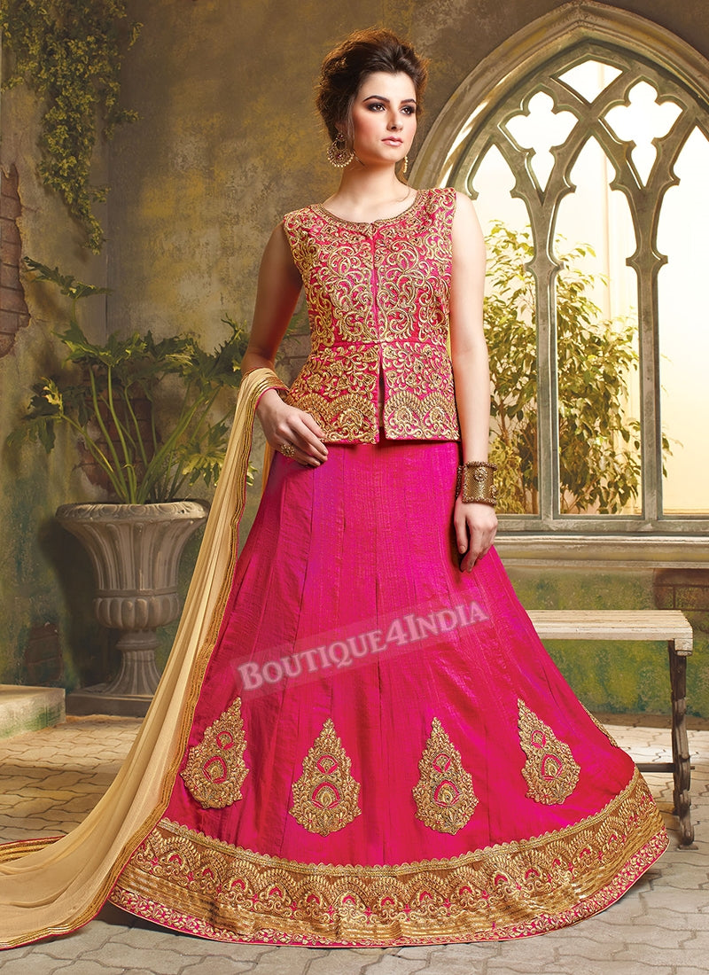 Pink color Silk heavy embroidered crop top style Lehenga