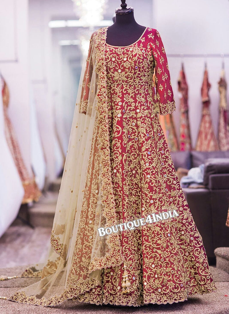 Red Banglori Silk heavy embroidery work anarkali suit