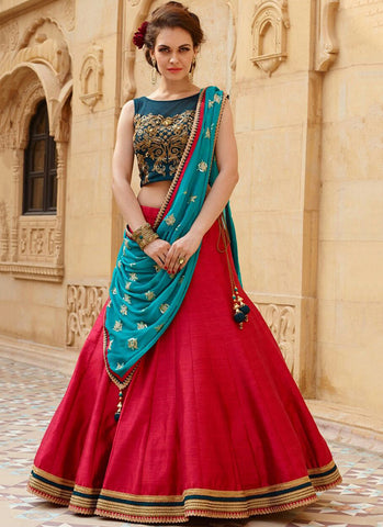 Red Banglori Silk Embroidered Wedding Lehenga Choli