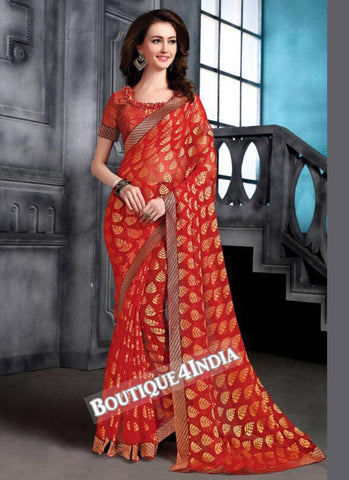 Red Brasso Party Wear Zari Work Saree