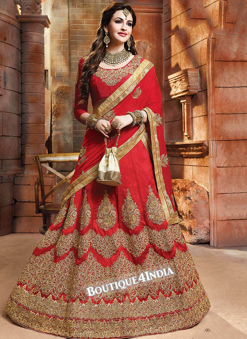 Red Satin silk reception wear lehenga choli