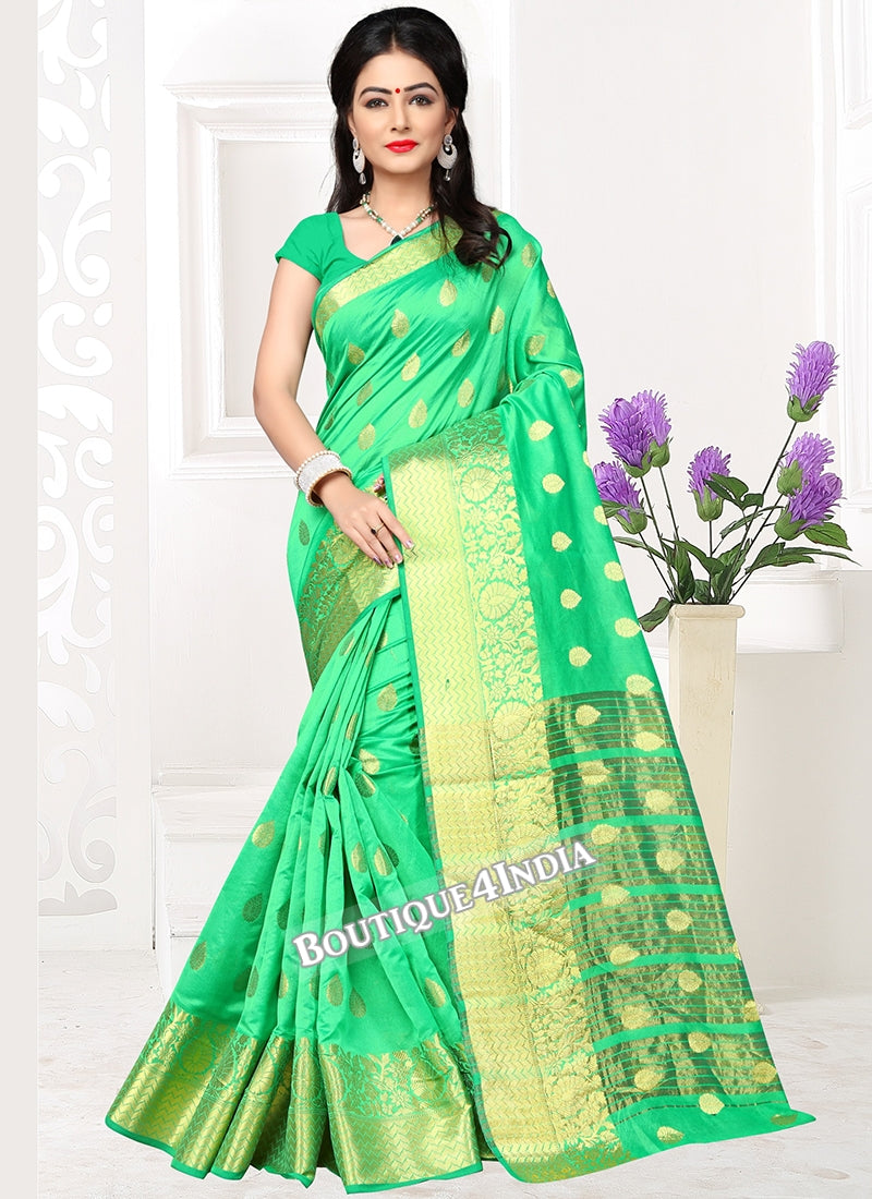 Light green Banarasi silk zari work Saree