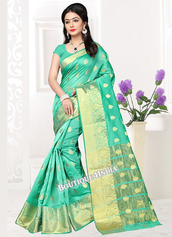 Sea green  Banarasi silk zari work Saree