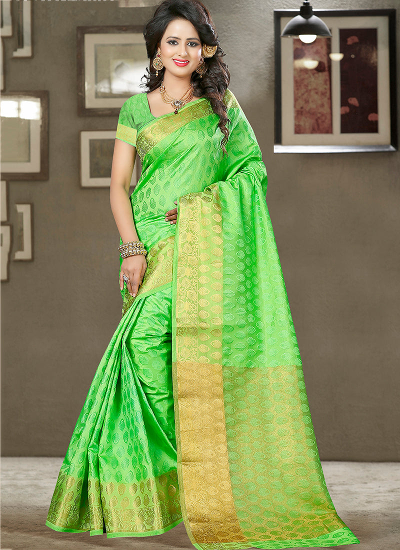 Lime green Art Silk and zari work Saree
