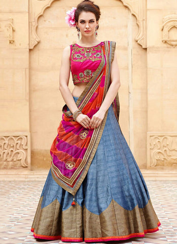 Sky blue banglori Silk Embroidered Wedding Lehenga Choli