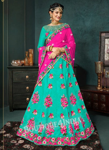 Teal Silk Bridal Embroidered Lehenga