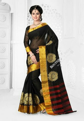 Cotton Silk Casual Saree in Black, Red and Golden - Boutique4India Inc.