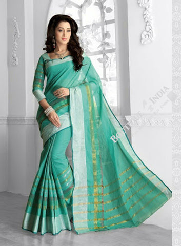 Ravishing Cotton Silk Saree in Turquoise Blue and Golden - Boutique4India Inc.