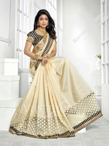 Chiffon Silk and Net Embroidered Saree in Cream and Half White - Boutique4India Inc.