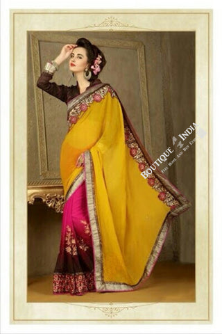 Sarees - Net and Chiffon with Yellow/Pink/Maroon and Golden Color - Boutique4India Inc.