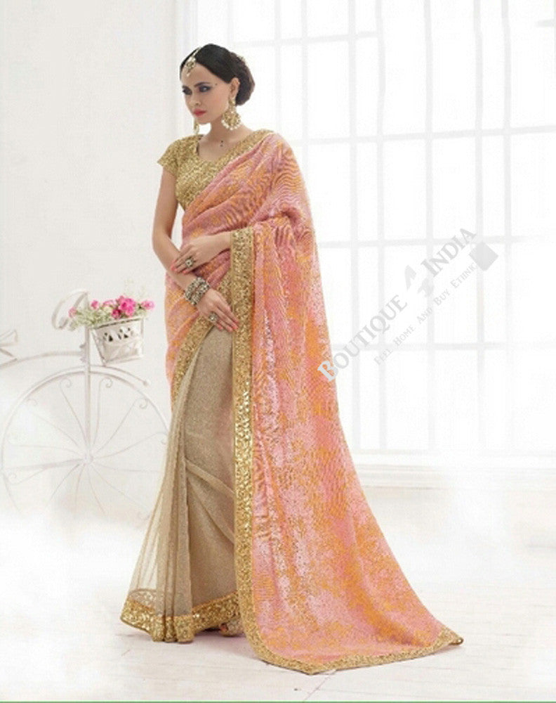 Sarees - Elegant Pink And Golden Bridal Collections - Resplendent Bridal Designer Wedding Special Collections / Wedding / Party / Special Occasions / Festival - Boutique4India Inc.
