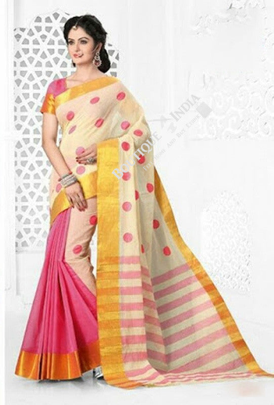 Cotton Silk Casual Saree in Pink, Half White, Golden - Boutique4India Inc.