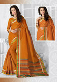 Ravishing Cotton Silk Saree in Orange and Golden - Boutique4India Inc.
