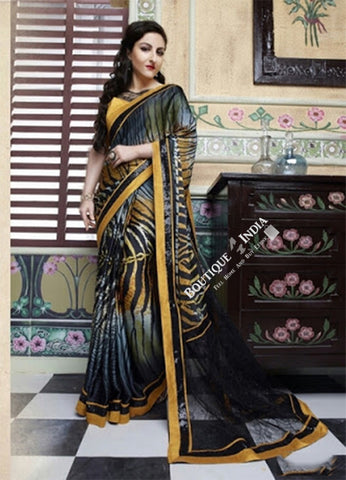 Smooth-textured Net Chiffon Saree in Golden Yellow and Black - Boutique4India Inc.
