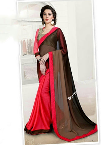 Reversible Silk and Faux Georgette Saree in Brown and Pink - Boutique4India Inc.