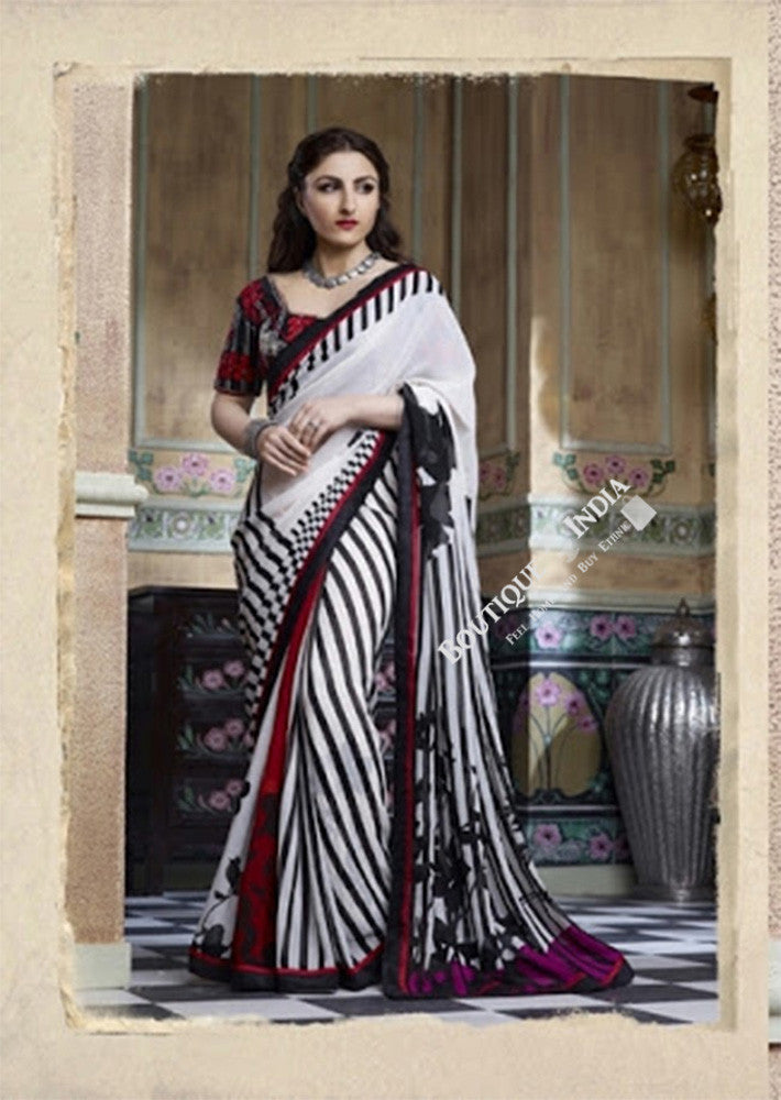 Smooth-textured Net Chiffon Saree in White, Red and Black - Boutique4India Inc.