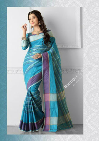 Ravishing Cotton Silk Saree in Different Blue Shades - Boutique4India Inc.