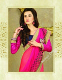 Sarees - Hot Pink and Purple Shade Net and Chiffon - Boutique4India Inc.