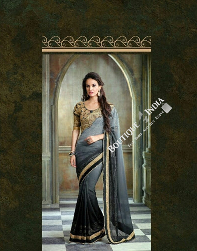 Sarees - Grey, Black And Golden Net and Chiffon - Boutique4India Inc.