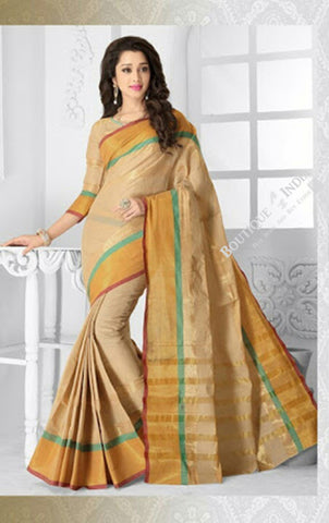 Ravishing Cotton Silk Saree in Golden Peach and yellow - Boutique4India Inc.