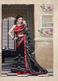 Smooth-textured Net Chiffon Saree in Black and Red - Boutique4India Inc.