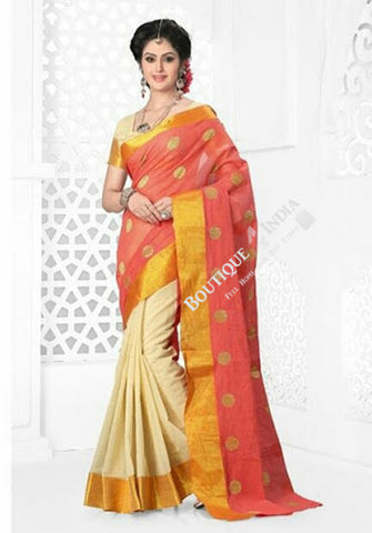 Cotton Silk Casual Saree in Orange Pink / Peach, Half White and Golden - Boutique4India Inc.