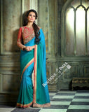 Sarees - Blue And Ruby Red Net and Chiffon - Boutique4India Inc.