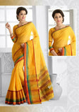 Ravishing Cotton Silk Saree in Yellow Color - Boutique4India Inc.