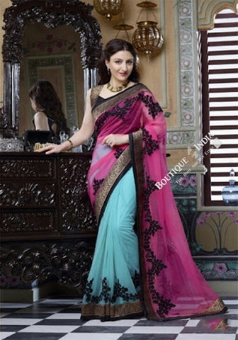Smooth-textured Net Chiffon Saree in Pink, Black and Blue - Boutique4India Inc.