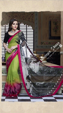 Smooth-textured Net Chiffon Saree in Green, Red and Pink - Boutique4India Inc.