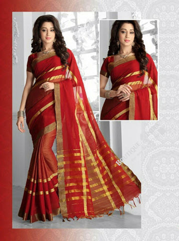 Ravishing Cotton Silk Saree in Ruby Red and Golden - Boutique4India Inc.