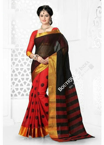 Cotton Silk Casual Saree in Hot Red, Back and Golden - Boutique4India Inc.