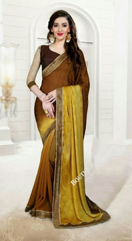 Reversible Silk and Faux Georgette Saree in Yellow, Brown and Golden - Boutique4India Inc.