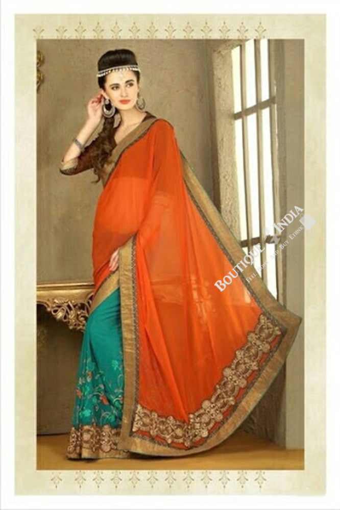 Sarees - Net and Chiffonwith Orange, Blue And Golden Color - Boutique4India Inc.