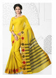 Cotton Silk Casual Saree in Yellow, Green and Golden - Boutique4India Inc.