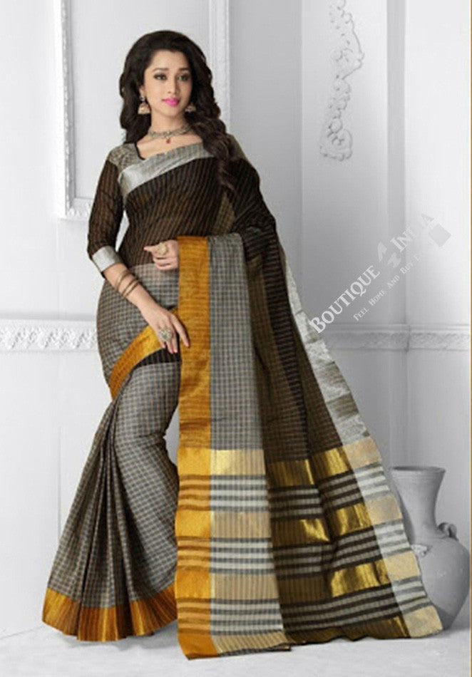 Ravishing Cotton Silk Saree in Gray, Black and Golden - Boutique4India Inc.