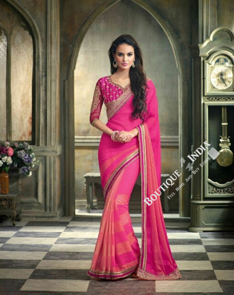 Sarees - Net and Chiffon with Pink, Purple And Golden - Boutique4India Inc.