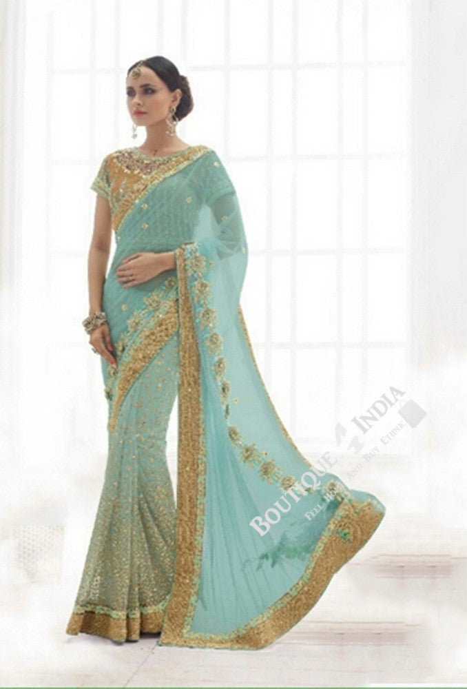 Sarees - Magical Blue And Golden Bridal Collections - Resplendent Bridal Designer Wedding Special Collections / Wedding / Party / Special Occasions / Festival - Boutique4India Inc.
