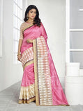 Chiffon Silk and Net Embroidered Saree in Pink and Golden - Boutique4India Inc.