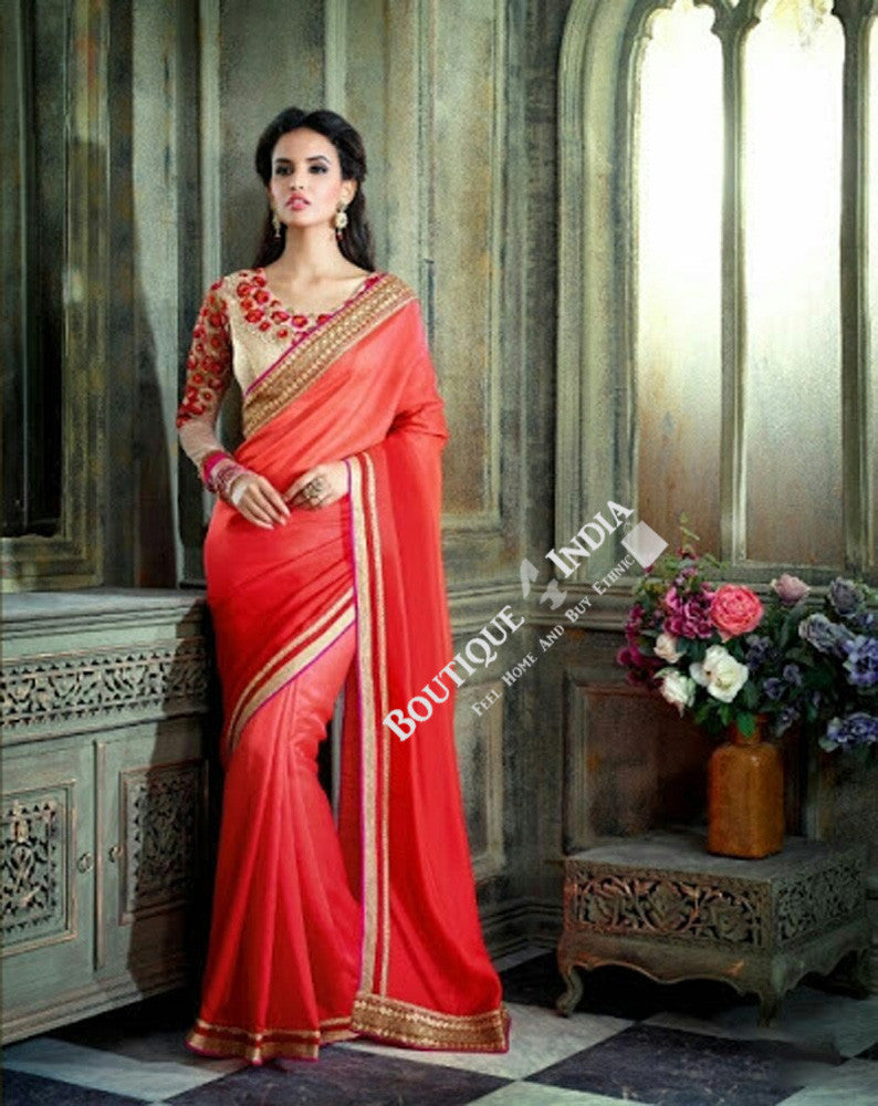 Sarees - Net and Chiffon with Orange, Pink And Golden - Boutique4India Inc.