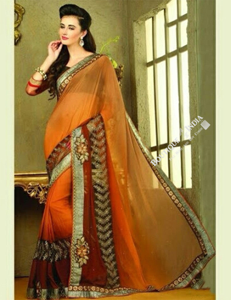 Sarees - Net and Chiffon with Orange, Maroon And Golden - Boutique4India Inc.